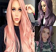 abordables -Nouvelle perruque européenne et américaine femmes harajuku violet longs cheveux bouclés rose grande vague cheveux longs bouclés différenciation moyenne couverture de cheveux