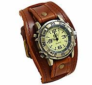 abordables -montre à quartz décontractée en cuir pour hommes, montre à manchette décontractée en cuir punk rétro simple mode (marron)