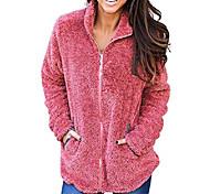 economico -giacca da donna in pile a maniche lunghe con risvolto con zip in finto shearling shaggy giacca con tasche caldo inverno taglia l rosso