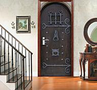 abordables -Porte en bois rétro auto-adhésive autocollants de porte créatifs pour salon bricolage décoratif maison autocollants muraux imperméables