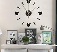 abordables -DIY 3d horloge murale acrylique miroir autocollants maison salon chambre mignon dessin animé quartz aiguille montre murale design moderne décoration