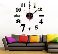 economico -acrilico inglese combinazione digitale specchio silenzioso orologio da parete alla moda soggiorno divano adesivo da parete orologio zb025