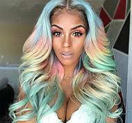 abordables -perruques couleur féminine cheveux en fibre chimique cosplay perruque arc-en-ciel blanchiment et teinture couleurs mélangées au milieu d'une grande perruque de fête de vacances de cheveux longs