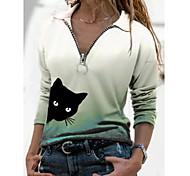 abordables -T-shirt Femme Quotidien Fin de semaine Dégradé de Couleur Chat Manches Longues Quarter Zip Col de Chemise Hauts Mince Haut de base basique Violet Rouge Vert