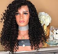 abordables -Perruque Synthétique Afro bouclé Boucle rebondissante Partie médiane Dentelle sur le devant Perruque Longue Noir Cheveux Synthétiques Femme Doux Élastique Duveteux Noir