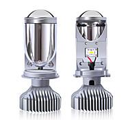 abordables -2pcs H4 LED ampoule lentille tricolore pour phares automobiles LED avec mini-objectif de projecteur Kit de conversion LED H4 automobiles Hi / Lo faisceau phare LED