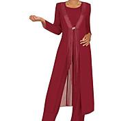 abordables -Deux Pièces Trapèze Robe de Mère de Mariée  Elégant Rétro Vintage Bijoux Longueur Sol Mousseline de soie Manches Longues avec Plissé 2021