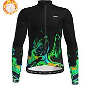 economico -21Grams Per uomo Manica lunga Maglia da ciclismo Inverno Vello Poliestere Verde Bicicletta Maglietta / Maglia Superiore Ciclismo da montagna Cicismo su strada Fodera di vello Tenere al caldo