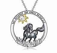 economico -collana di cavalli in argento sterling ciondolo di cavallo nero che credeva di poterlo fare così ha fatto una collana per le donne