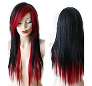 abordables -noir vin rouge coiffure perruque longue droite cheveux noirs perruque cosplay perruque résistant à la chaleur