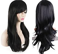 economico -parrucca da donna con capelli ricci lunghi 70 cm resistente al calore da 28 pollici con cappuccio nero