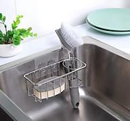 abordables -porte-éponge adhésif cintre en tissu plat 2-en-1 évier caddy acier inoxydable antirouille preuve de l'eau pas de forage