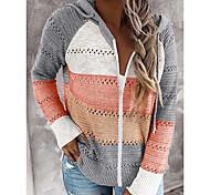 economico -Per donna Essenziale Lavorato a maglia Monocolore Cardigan Manica lunga Maglioni cardigan Con cappuccio Autunno Inverno Rosa Vino Arancione