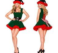 abordables -Déguisement Halloween Femme Costume de père noël Noël Costume Noël Halloween Noël Festival Velours Vert Costumes Carnaval / Robe / Chapeau