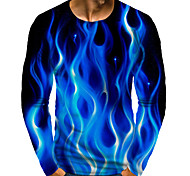 abordables -Homme T-shirt Impression 3D Graphique 3D Grandes Tailles Imprimé Manches Longues Quotidien Hauts Bleu