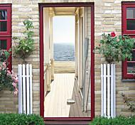 economico -adesivi per porte autoadesivi creativi vendita calda casa in legno al mare soggiorno camera da letto adesivi murali decorativi per la casa fai da te