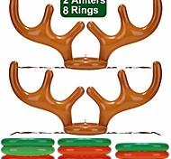 abordables -Lot de 2 anneaux gonflables en bois de renne pour Noël Halloween Thanksgiving Xmas Party Game Headband Jouets gonflables pour vacances Family School Photo Props Game (2 bois, 8 anneaux)