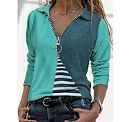 abordables -T-shirt Femme Quotidien Rayé Bloc de Couleur Manches Longues Col en V Col de Chemise Hauts Haut de base Hawaïen Rouge Jaune Vert