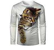 abordables -Homme T-shirt Impression 3D Chat Graphique 3D Animal Imprimé Manches Longues Quotidien Hauts 1# 2# 3#