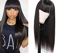 abordables -avec une frange droite non-dentelle perruques brésiliennes droites faites à la machine perruques pour les femmes couleur naturelle
