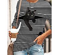 abordables -Tunique T-shirt Femme Quotidien Rayé Chat Dessin Animé 3D Manches Longues Imprimé Col Rond Hauts Standard Haut de base basique Noir Bleu Jaune