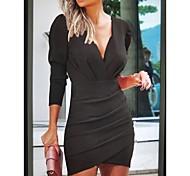 economico -Per donna Abito linea A Mini abito corto Nero Rosa Vino Blu marino Manica a 3/4 Tinta unica Collage Autunno Inverno A V Elegante Sensuale 2021 S M L XL XXL
