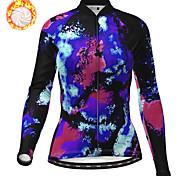 economico -21Grams Per donna Manica lunga Maglia da ciclismo Inverno Vello Poliestere Blu Camouflage Bicicletta Maglietta / Maglia Superiore Ciclismo da montagna Cicismo su strada Fodera di vello Tenere al