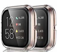 abordables -compatible pour fitbit versa 2 étui de protection d'écran couvercle en verre trempé étui de clarté hd pour fitbit versa 2 bandes de smartwatch accessoires clair 2 pack
