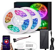 economico -rgb ic kit striscia luci led ws2811 5m 10m 5050 rgb 30leds per metro striscia led indirizzabile flessibile colore sogno impermeabile con app wifi controller e adattatore dc12v