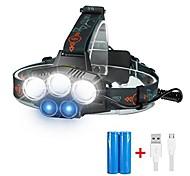 economico -faro a led, 3 x xml t6 + 2xr2 led 18650 faro - 6 modalità torcia torcia lampada per sport all'aria aperta campeggio mountain bike caccia pesca (raggio blu)