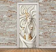 abordables -Autocollant de porte créatif auto-adhésif déesse sculpture salon bricolage décoration maison autocollant mural étanche