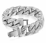 abordables -bracelet à maillons cubains pour hommes bracelet hip hop bracelet en chaîne en acier inoxydable gourmette glacé bracelet plaqué or cubain 18 carats avec strass clairs (argent)