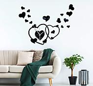 abordables -Accueil amour en forme de coeur acrylique miroir horloge murale mouvement muet miroir auto-adhésif autocollant mural horloge zb034