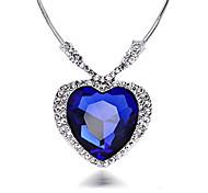economico -collana di cristallo blu con pendente enorme zaffiro cuore