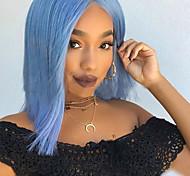 abordables -bleu élégant cheveux courts bobo tête teint en fibre chimique perruque dames couleur bobo tête
