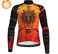 economico -21Grams Per uomo Manica lunga Maglia da ciclismo Inverno Vello Poliestere Blu Arancione Verde Animali Bicicletta Maglietta / Maglia Superiore Ciclismo da montagna Cicismo su strada Fodera di vello