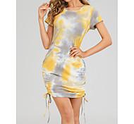 abordables -Robe t-shirt Femme Quotidien Sans Doublure Teinture par Nouage Manches Courtes Cordon Col Rond Hauts Standard Haut de base basique Jaune Vert
