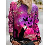 abordables -Polo Femme Quotidien Galaxie Chat Papillon Manches Longues Imprimé Col Rond Hauts Standard Haut de base basique Bleu Violet Rouge