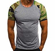 economico -camicetta da uomo a maniche corte stampata camouflage slim casual da uomo di moda