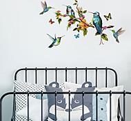 abordables -Peint à la main couleur papillon branche oiseau sticker mural salon tv fond mur décoration personnalisée sticker mural 50 * 70 cm