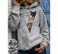 abordables -Femme Sweat-shirt à capuche Bande dessinée Chat Graphique Poche avant Quotidien basique Simple Pulls Capuche Pulls molletonnés Gris