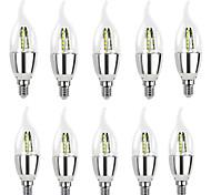 abordables -10 pcs Haute Lumineux Lampara LED E14 Bougie LED Ampoule 5W 7W LED Lampe 220V Argent Cool Ampoule Blanc