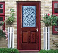 abordables -Porte en bois en verre auto-adhésif créatif autocollants de porte salon bricolage décoratif maison autocollants muraux imperméables