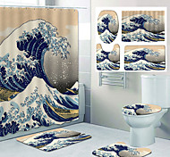 abordables -impression de motif de vagues de style japonais rideau de douche de salle de bain toilettes de loisirs conception en quatre pièces