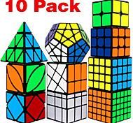 abordables -Ensemble de cubes de vitesse 10 pcs Cube magique Cube IQ 2*2*2 3*3*3 4*4*4 Pack Speedcubing Anti-Stress Cube casse-tête Lisse Jouets de bureau Casse-tête Moulin à vent Pyramide Miroir Enfant Adultes