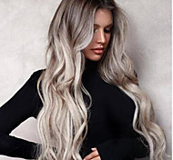 abordables -Perruque Synthétique Boucle rebondissante Partie médiane Perruque Longue Grise Cheveux Synthétiques Femme Doux Élastique Cheveux Colorés Gris foncé