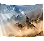 abordables -tapisserie murale art déco couverture rideau pique-nique table tissu suspendu maison chambre salon dortoir décoration polyester fibre animal loup