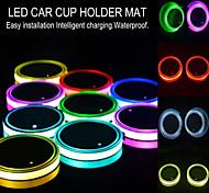 abordables -Nouvelle voiture led lumière porte-gobelet intérieur automobile usb lumières colorées lampe porte-boisson tapis anti-dérapant produits auto
