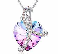 economico -Collana con cuore avvolto in cristalli di swarovski per donna, ciondolo da ragazza con squisita confezione regalo, regalo di anniversario di gioielli delicati per lei