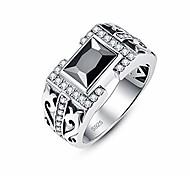 abordables -Bijoux de style antique synthétique spinelle noir cz halo 925 bague de mariage en argent sterling pour hommes taille 7